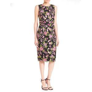 Badgely Mischka floral appliqué dress